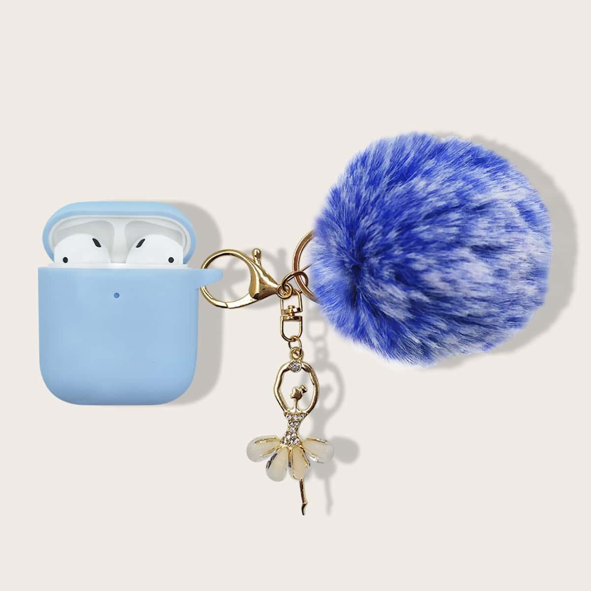 AirPods Etui mit Pompon Schlüsselbund