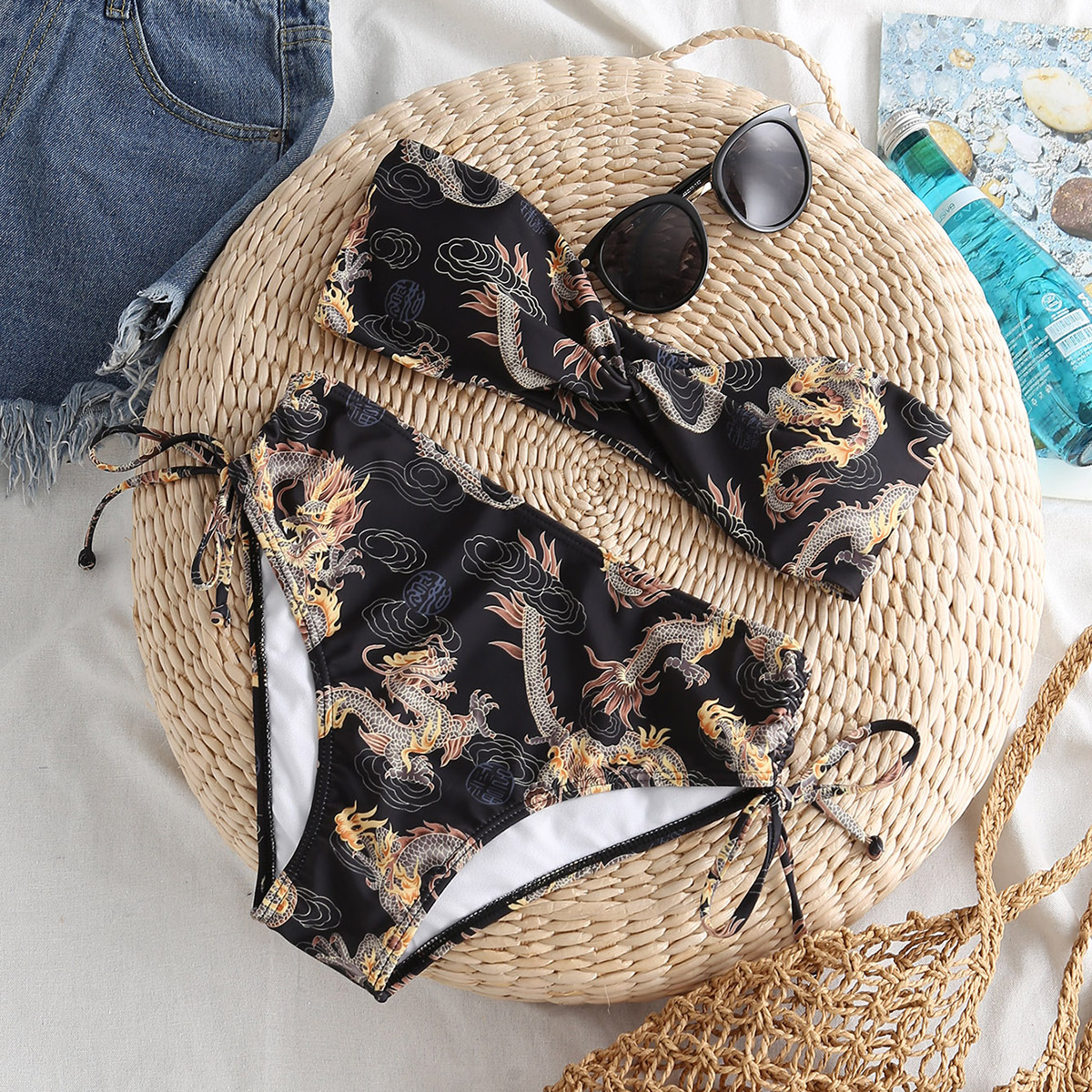 SHEIN / Chinese Dragon Print Twist Bandeau Bikini Swimsuit