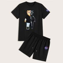 Guys Cartoon Bear Print Tee & Shorts