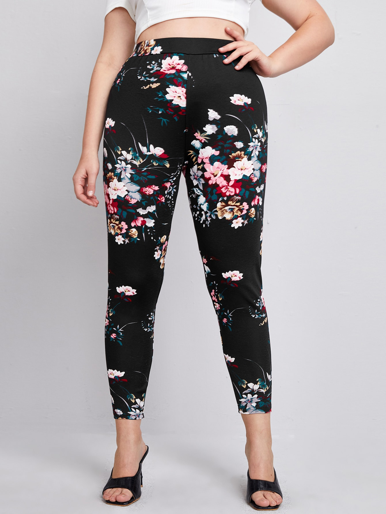Plus Floral Print Skinny Pants