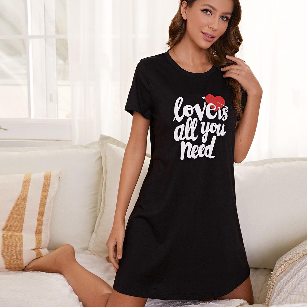 Лозунг Повседневный Домашнее платье