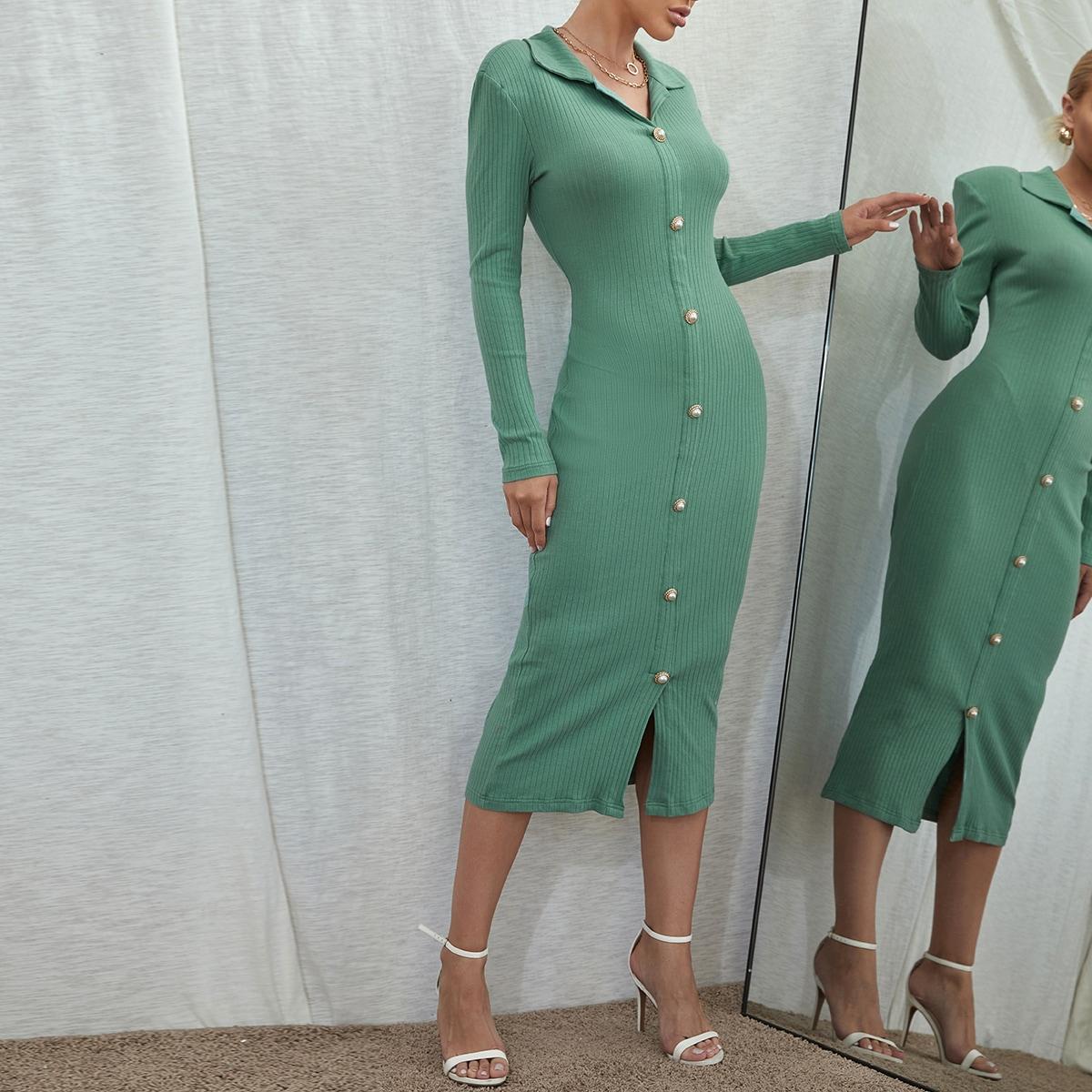 трикотажный Одноцветный Элегантный Платье