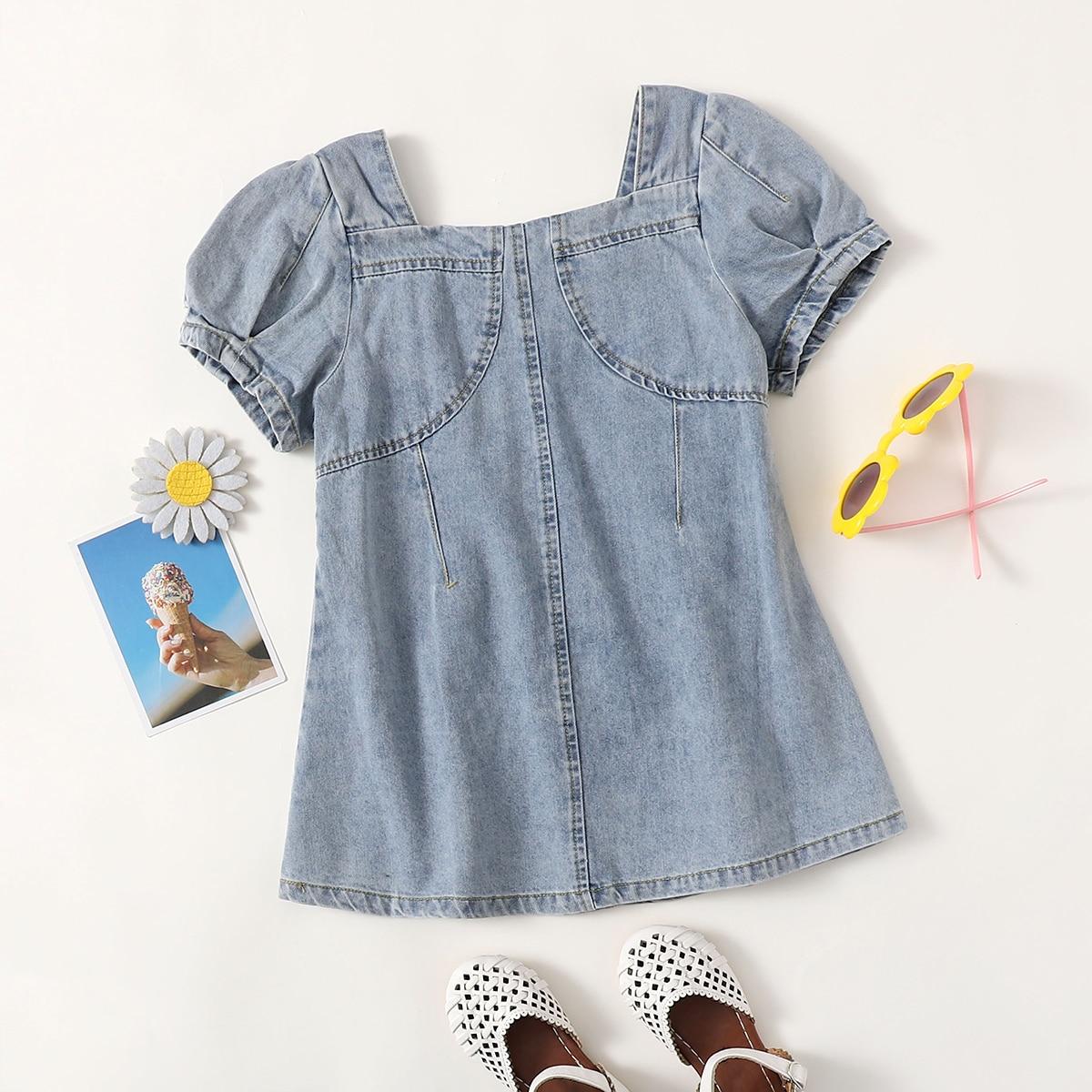 Оборка одноцветный милый джинсовые платья для девочек