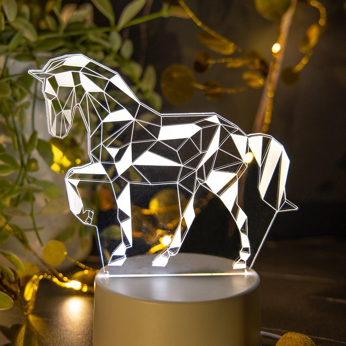 1 Stück 3 Farben veränderbares 3D-Nachtlicht mit Pferd Design