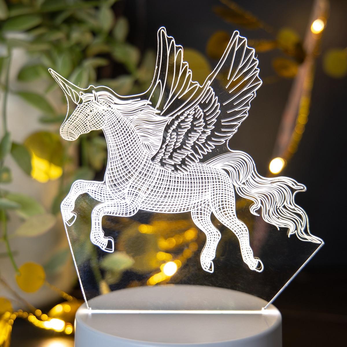 1 Stück 3 Farben veränderbares 3D-Nachtlicht mit Einhorn Design