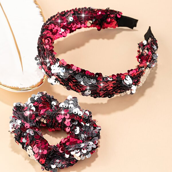 Sequins Decor Hair Hoop & Scrunchie, Hot pink