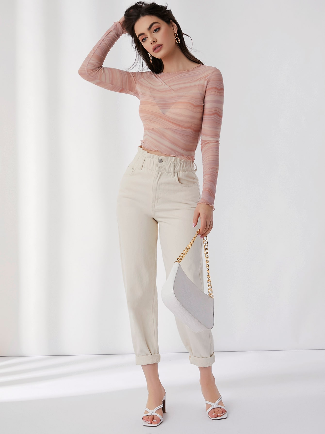 Lettuce Edge Marble Mesh Top Without Bra