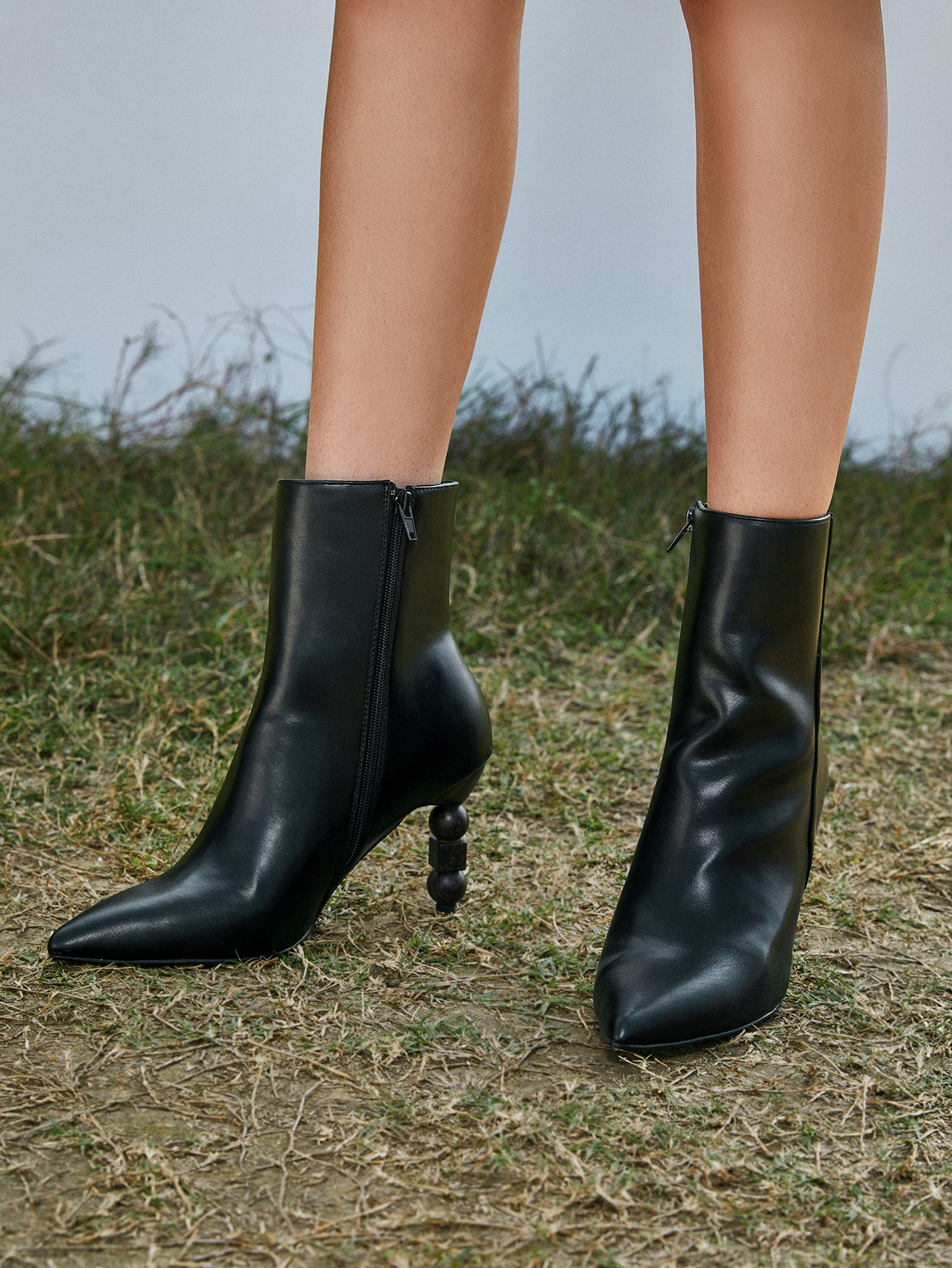 Point Toe Sculptural Heeled Boots