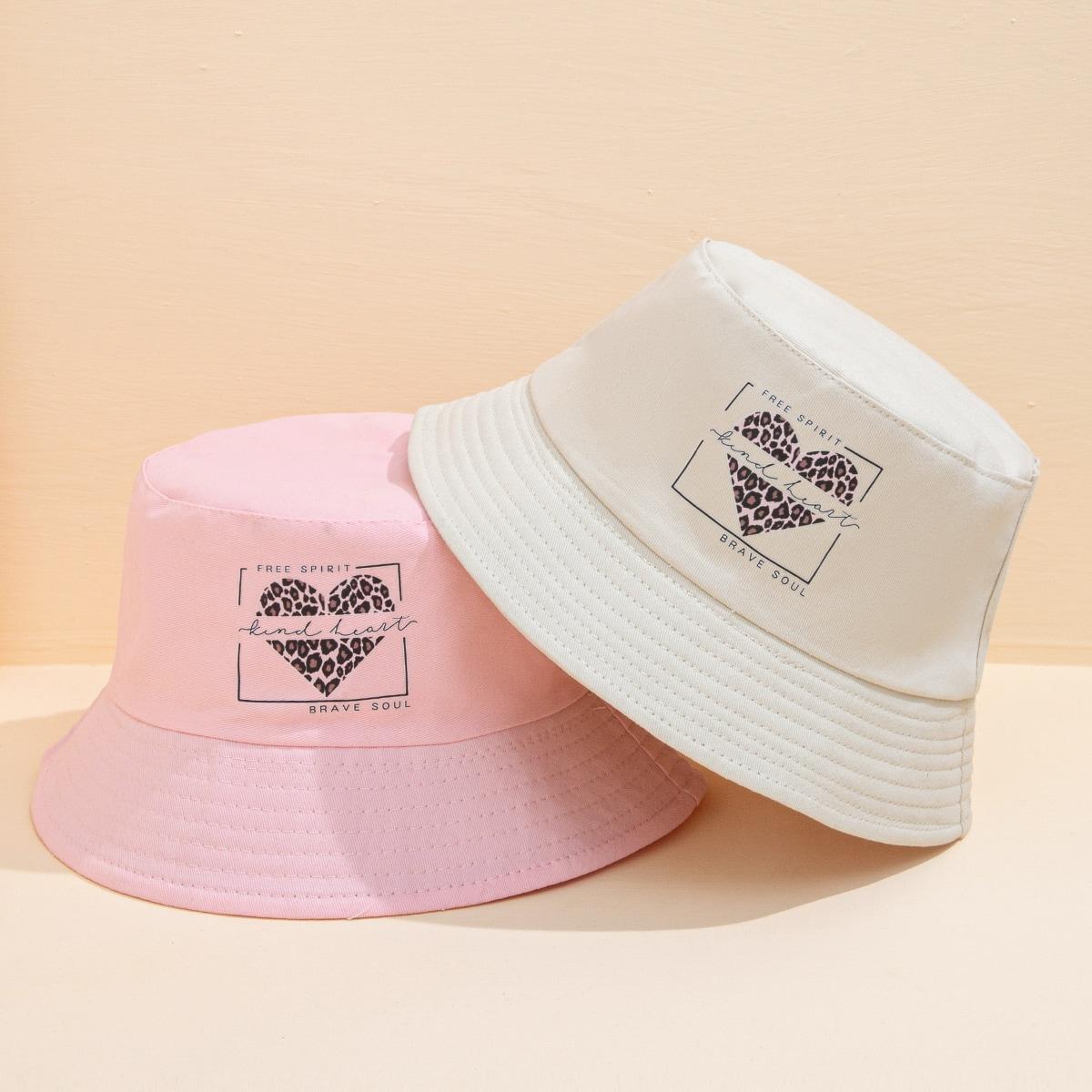 2pcs Leopard Pattern Bucket Hat