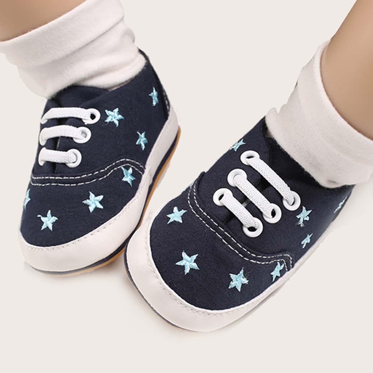 Кроссовки на шнурках с вышивкой звезды для девочек