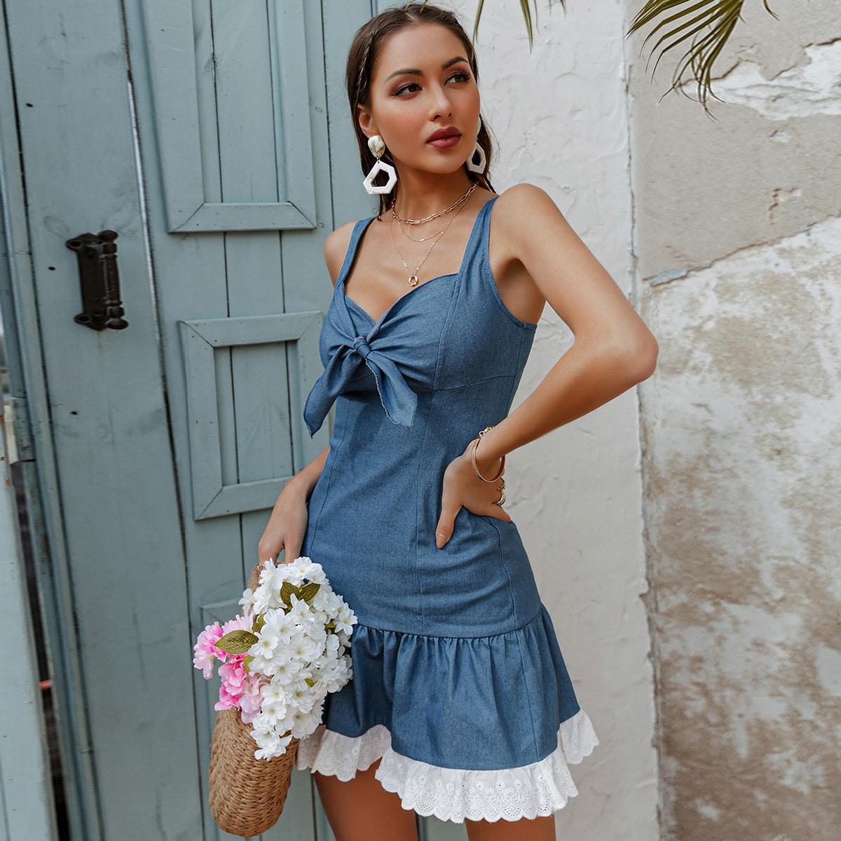 shein Sexy Kleurblok Denim jurk Rits