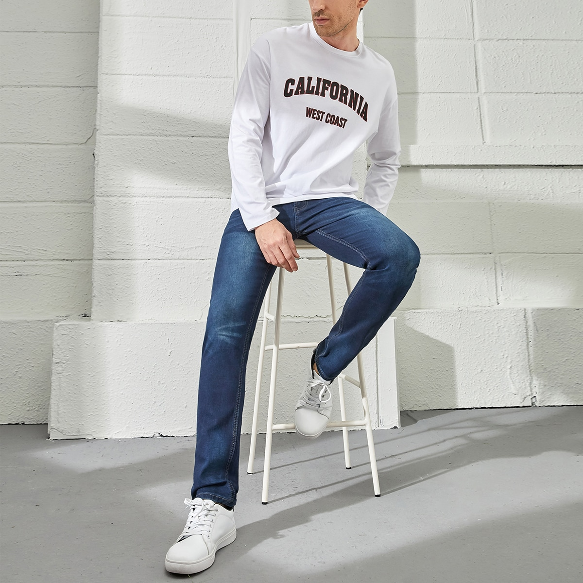 Одноцветный Мужские джинсы