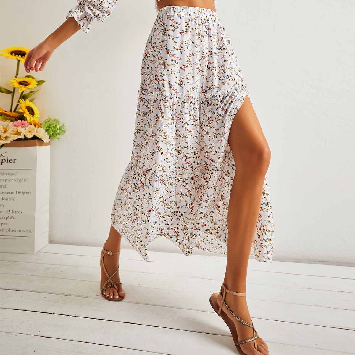 Elastic Waist Split Thigh Floral Skirt