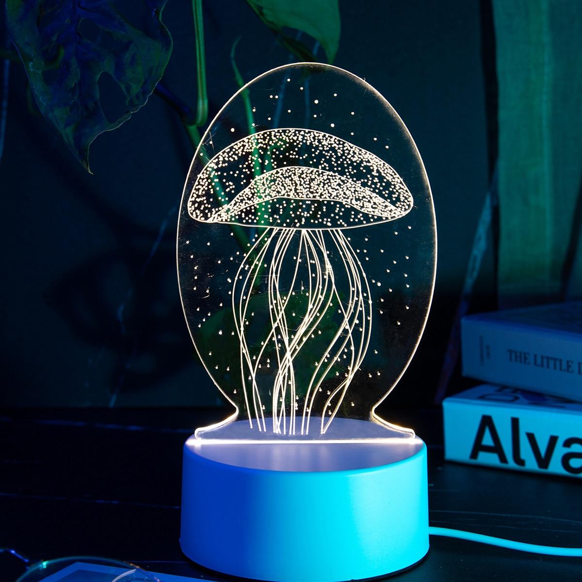 1 Stück 3 Farben veränderbares 3D-Nachtlicht mit Qualle Design