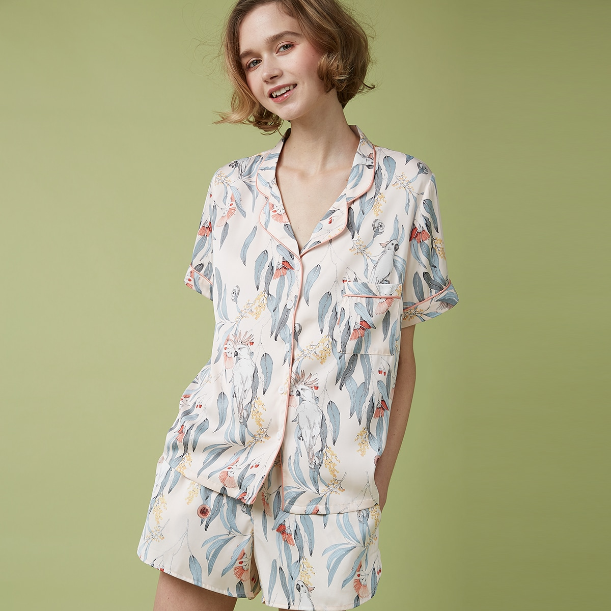 с карманами Цветочный принт Повседневный Комплект пижамы