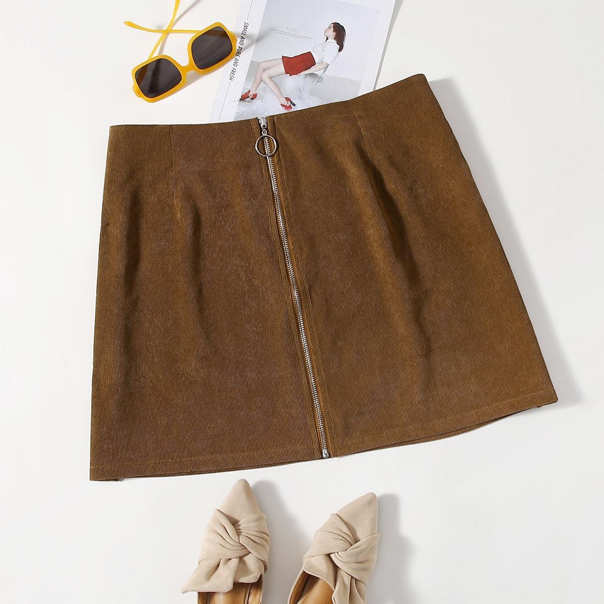 SHEIN / Plus Corduroy O-ring Zip Up Skirt
