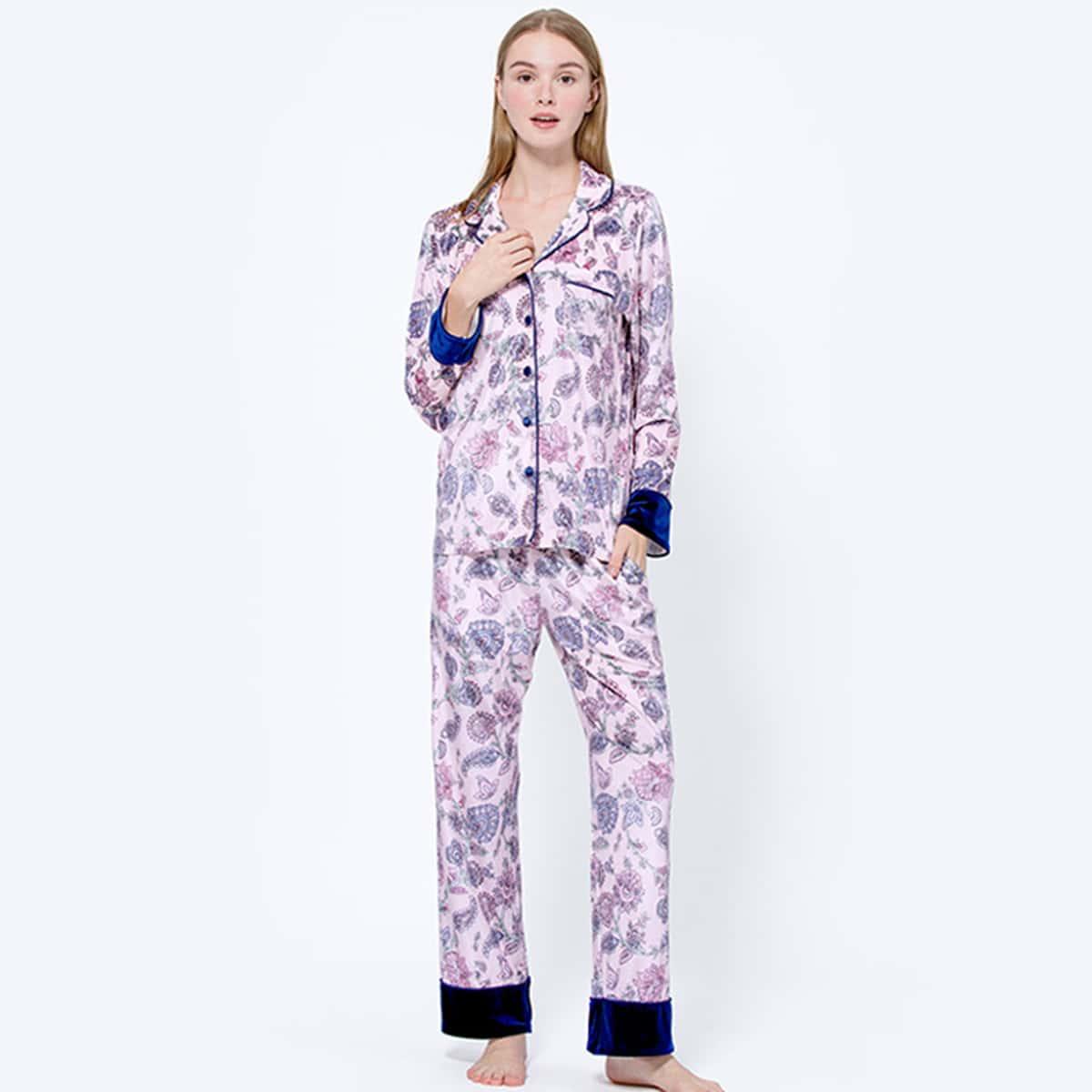 с карманами Цветочный принт милый Комплект пижамы