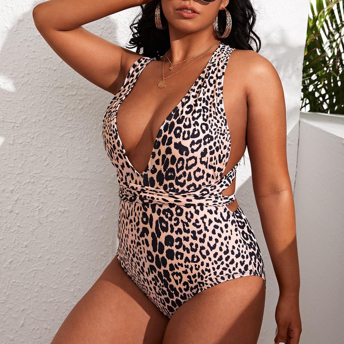 Bañador una pieza de cuello profundo de leopardo