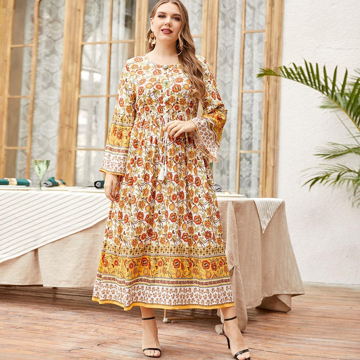 Платье размера плюс с цветочным принтом и бахромой