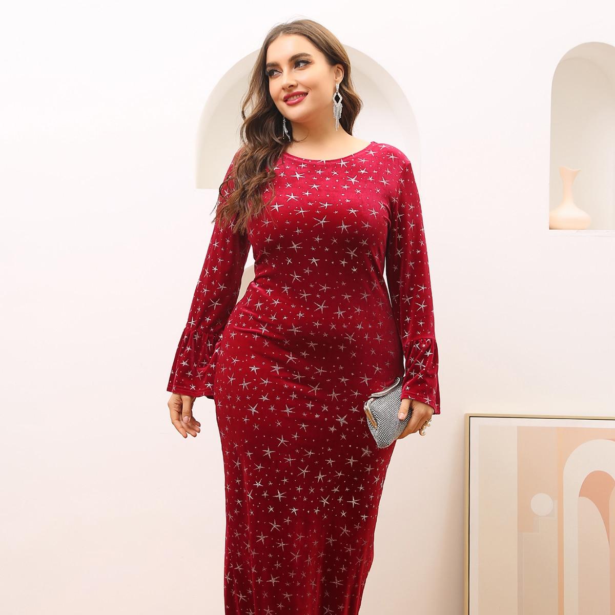 Бархатное облегающее платье размера плюс с принтом звезды
