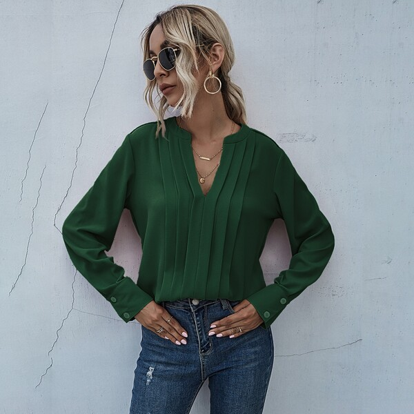 Оригинальная блузка, Темно-зеленый