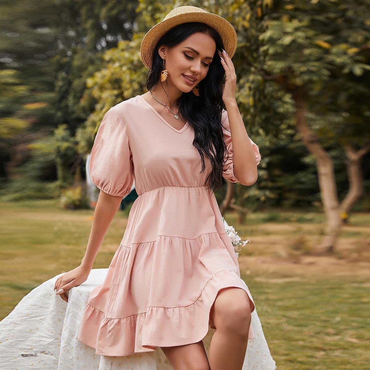 С оборками Одноцветный Бохо Платье