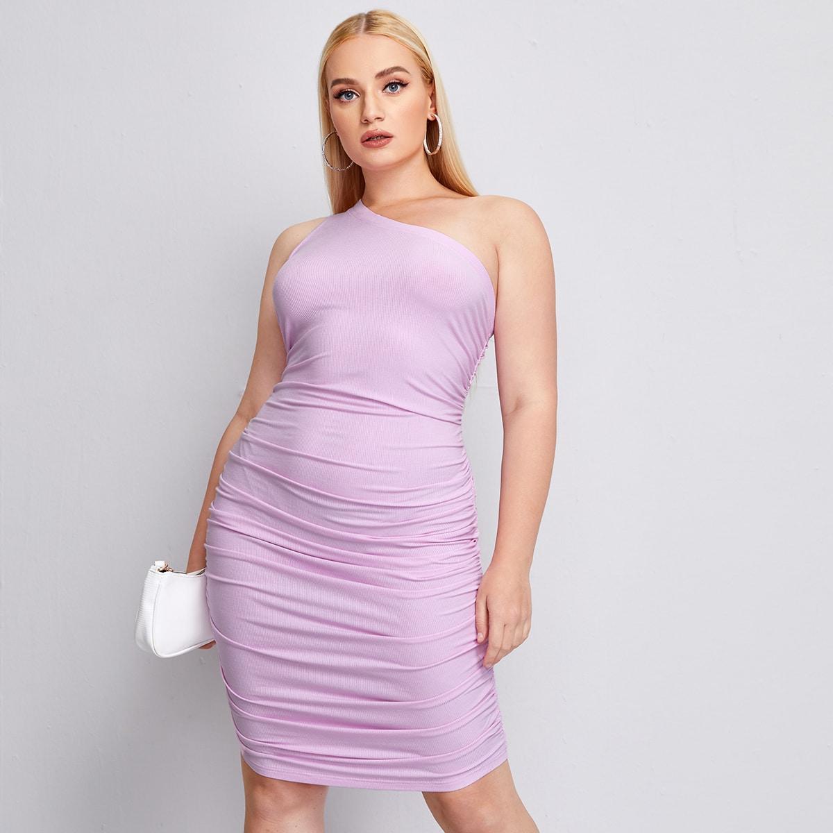 со сборками Одноцветный Элегантный Платья размер плюс