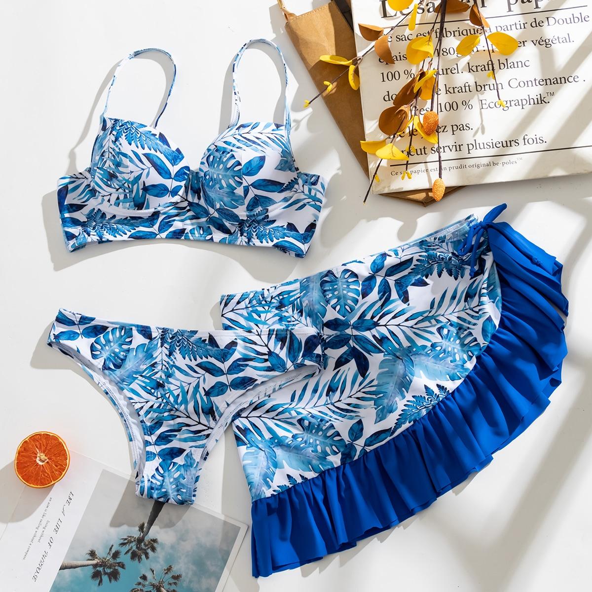 3 пакета бикини с тропическим принтом на косточках и пляжная юбка