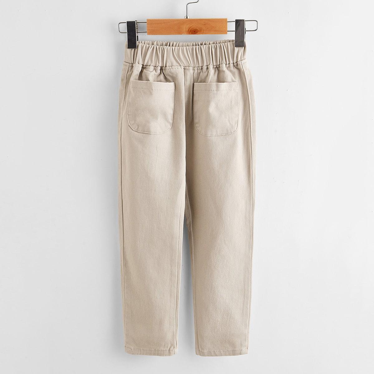 Однотонные брюки с карманом для мальчиков