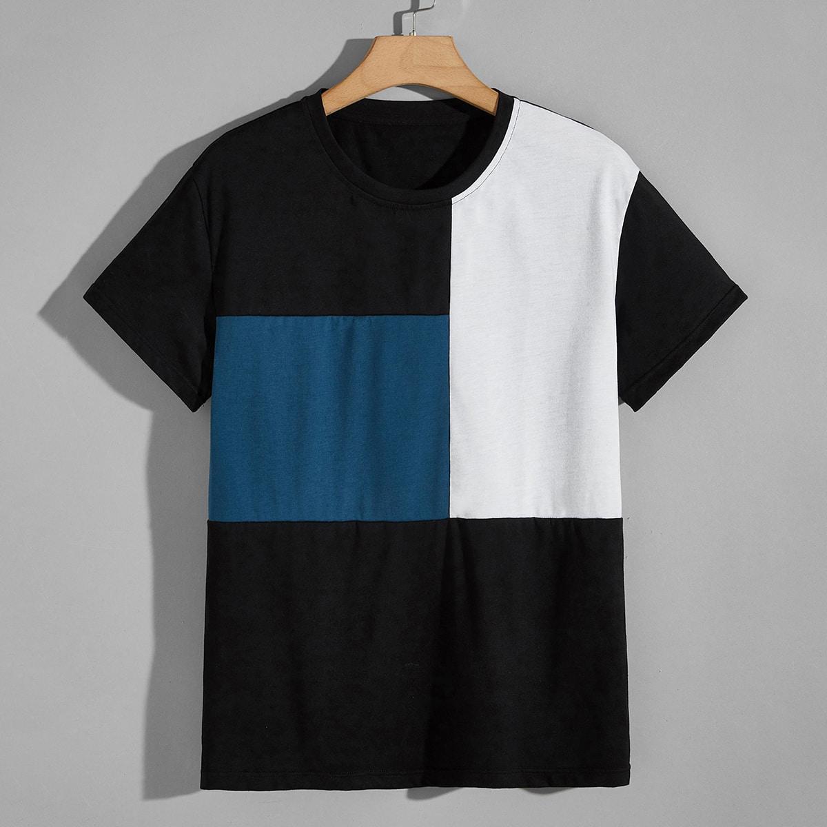 Мужская контрастная футболка с короткимирукавами по цене 780