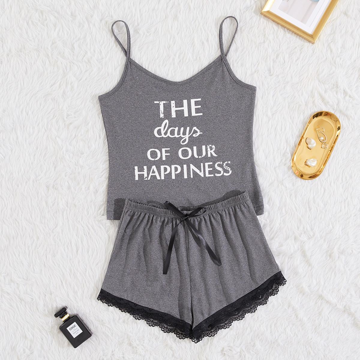 SHEIN / Slogan Graphic Lace Panel Cami Pajama Set