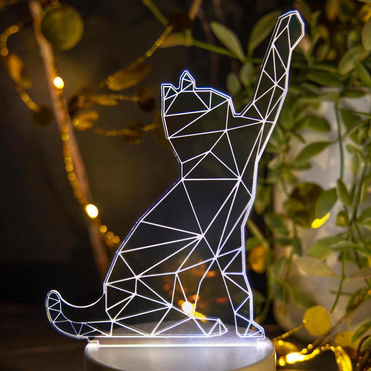 1 Stück 3 farbveränderbares 3D-Licht mit Katze Design