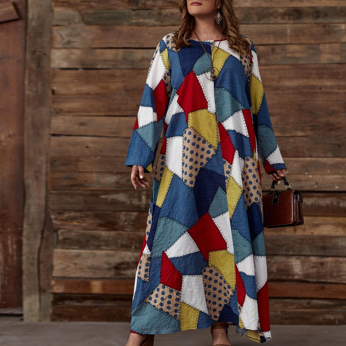 Макси-платье размера плюс с принтом в стиле пэчворк