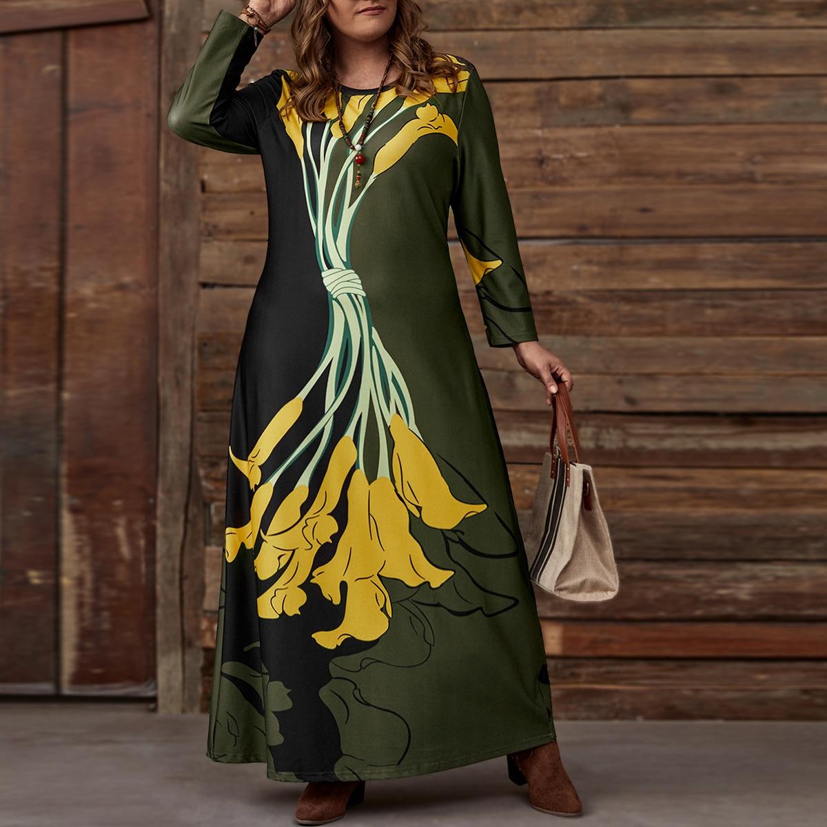 Макси-платье размера плюс с цветочным принтом
