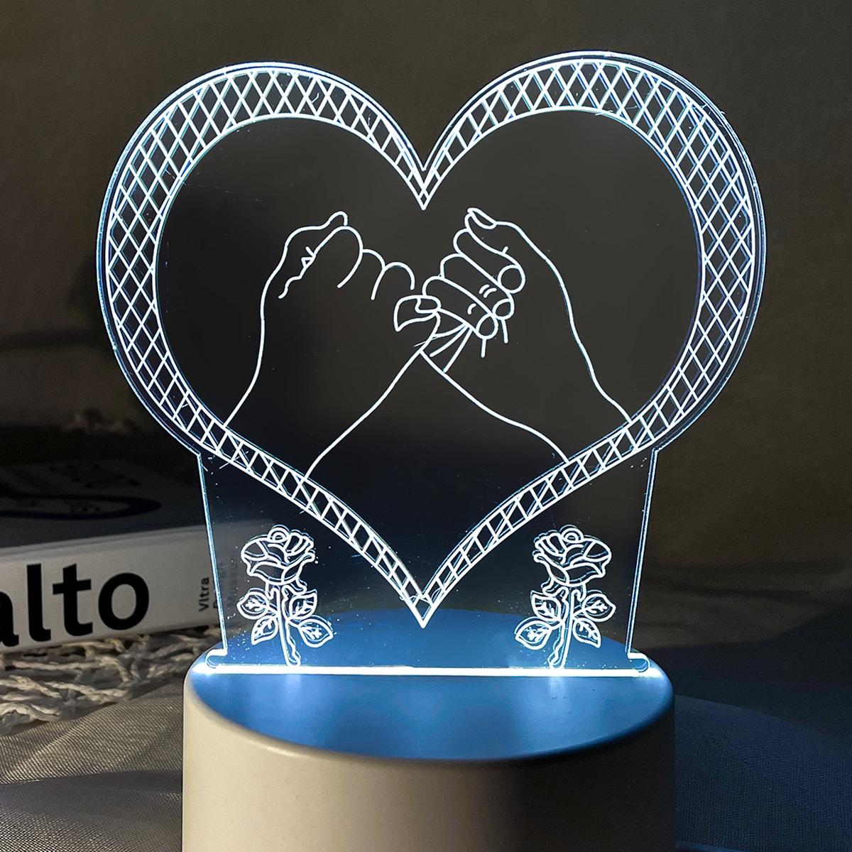 1 Stück 3 farbveränderbares 3D-Licht mit Herzen Design