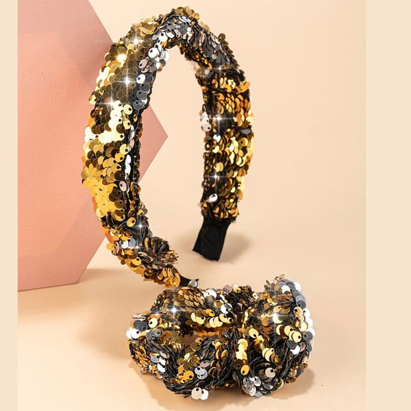 Sequins Decor Hair Hoop & Scrunchie, Gold