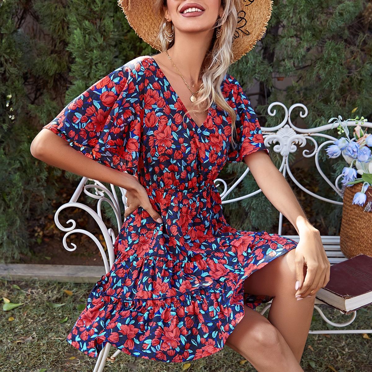 Оборка Цветочный принт Бохо Платье