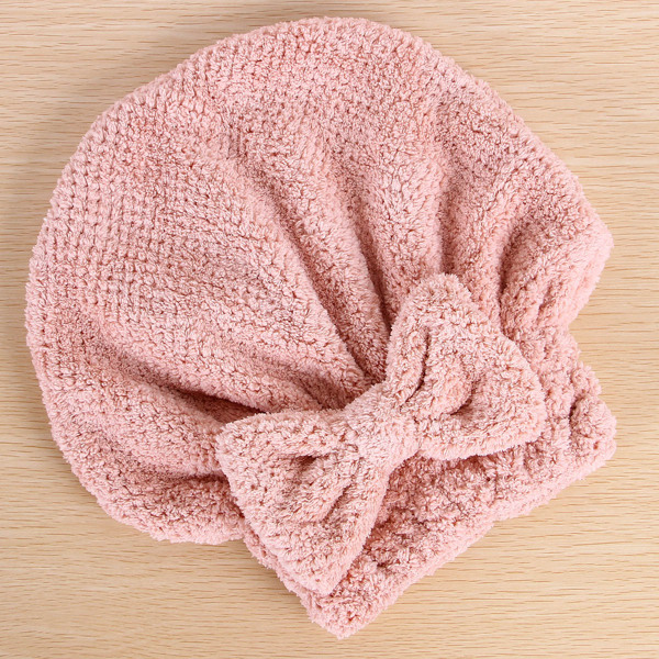 Bow-knot Decor Hair Drying Cap, Dusty pink
