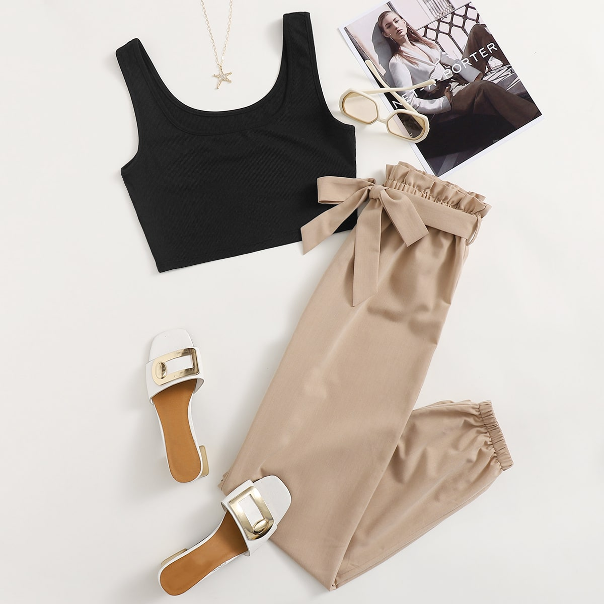 Ribbed Tank Top & Belted Paperbag Waist Pants, SHEIN  - buy with discount