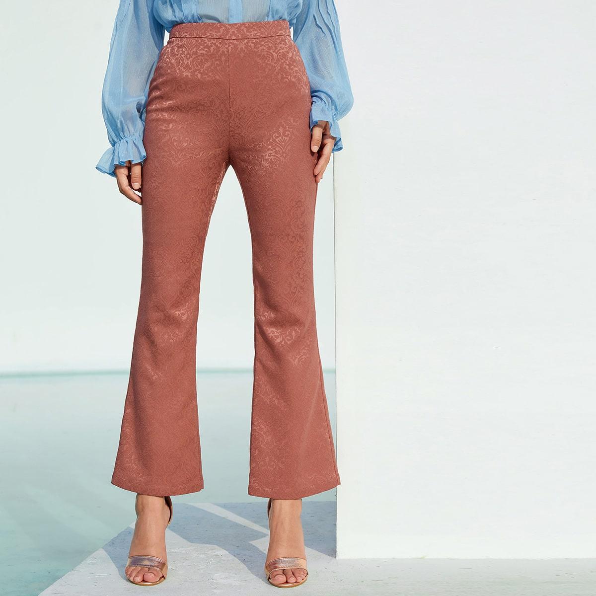 Жаккардовые брюки-клеш с молнией