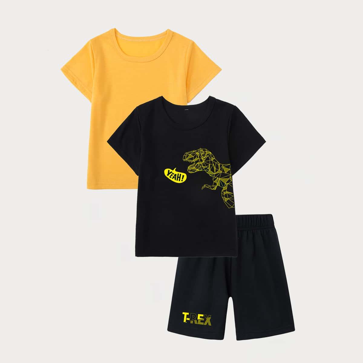 3шт пижама с принтом динозавра для мальчиков