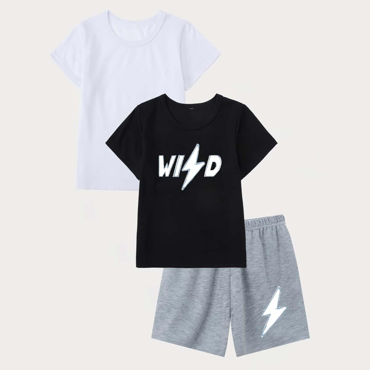 3шт пижама с текстовым принтом для мальчиков