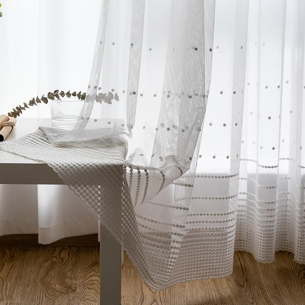 1 Schal Vorhang mit Punkten Stickereien