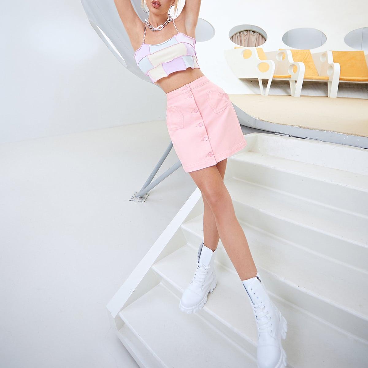 Pocket Patched Button Front Denim Skirt