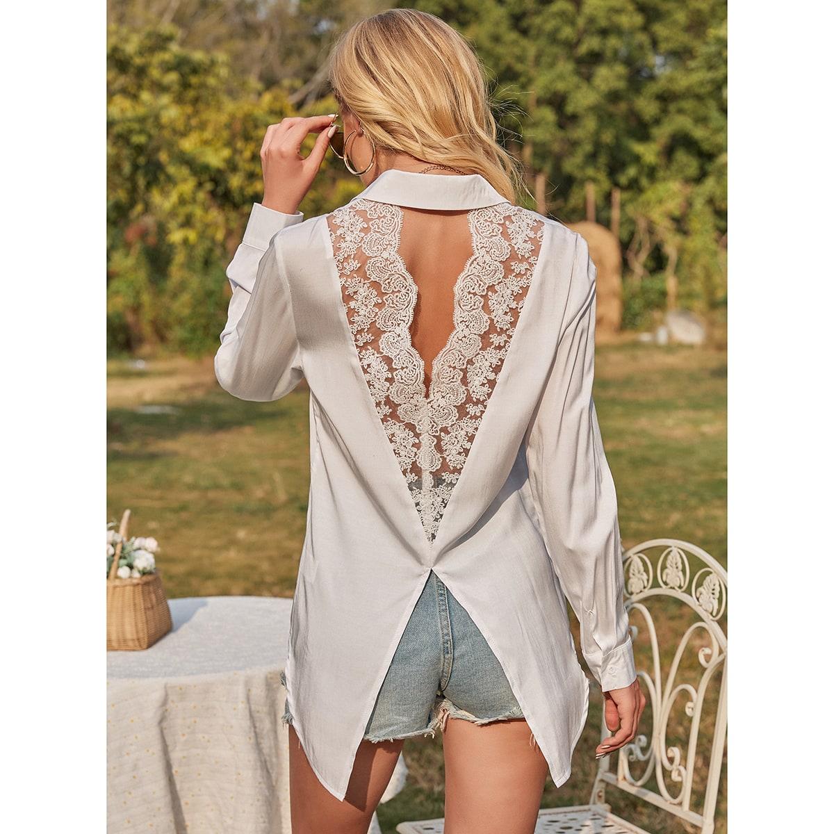 Блуза с разрезом и кружевом SheIn swblouse23201218053