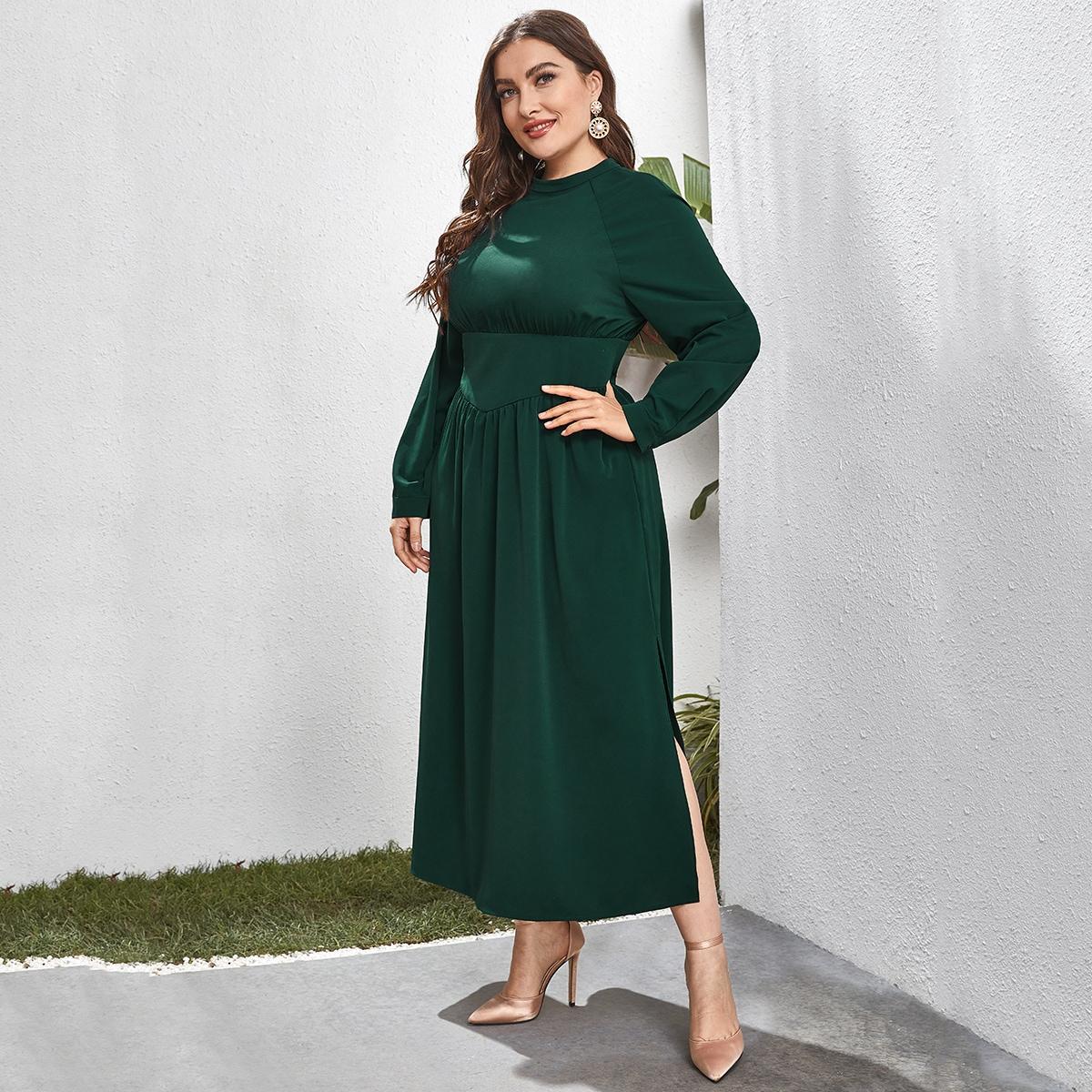 Разрез Одноцветный Элегантный Платья размер плюс