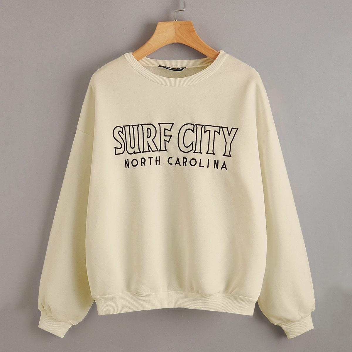 Термальный пуловер с текстовой вышивкой