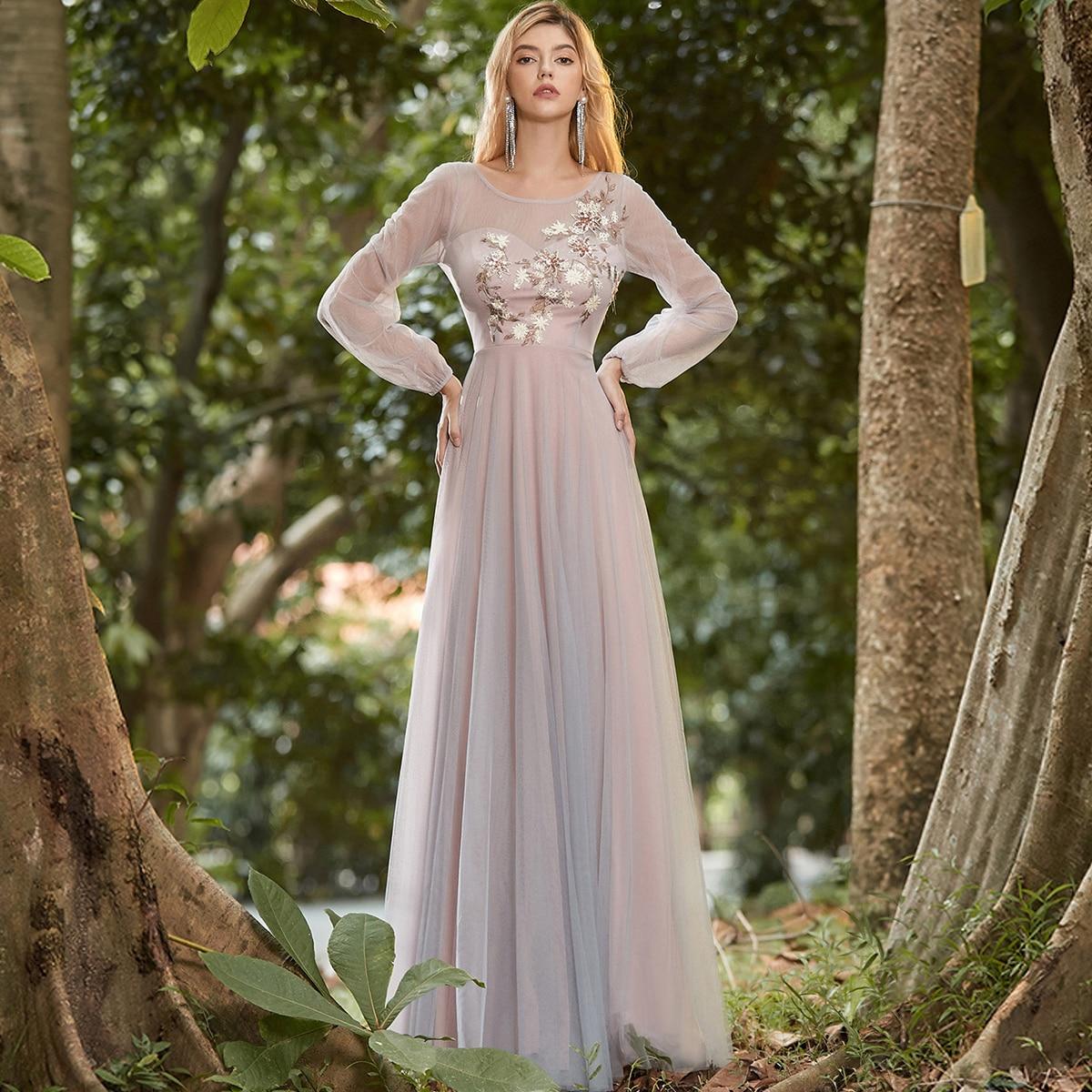 Applique Mesh Prom Dress