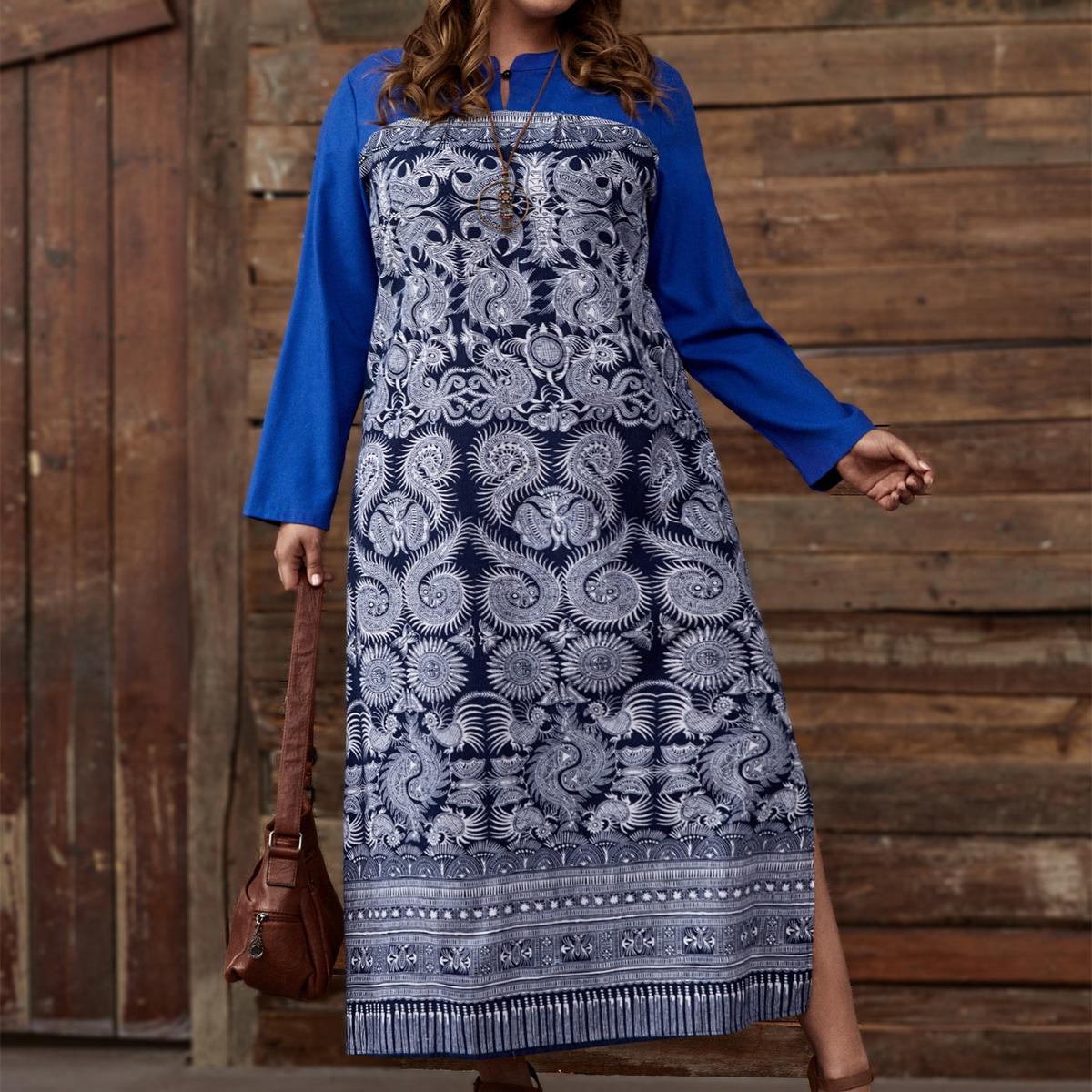 Платье размера плюс с принтом пейсли и разрезом по цене 990