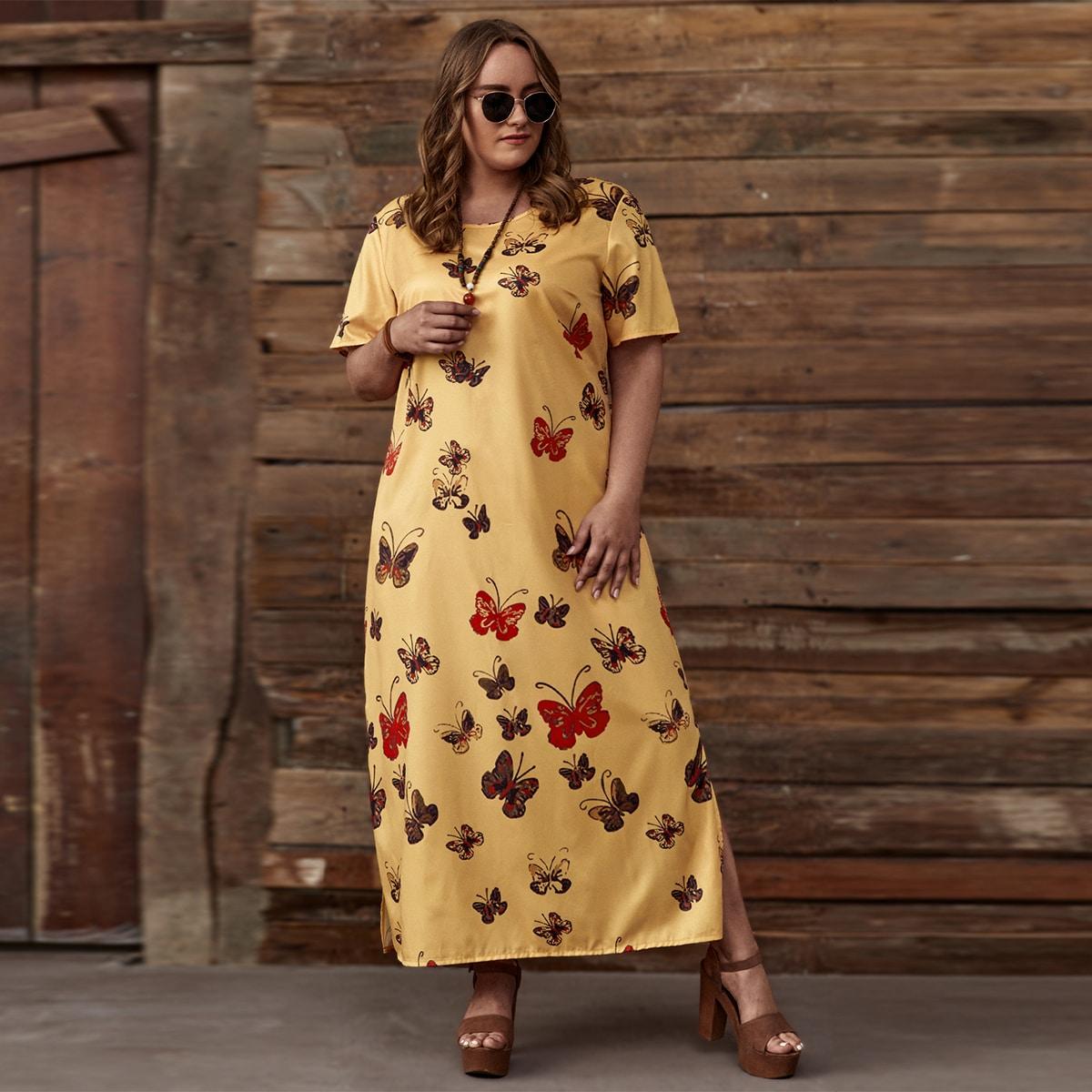 Платье размера плюс с разрезом и принтом бабочки